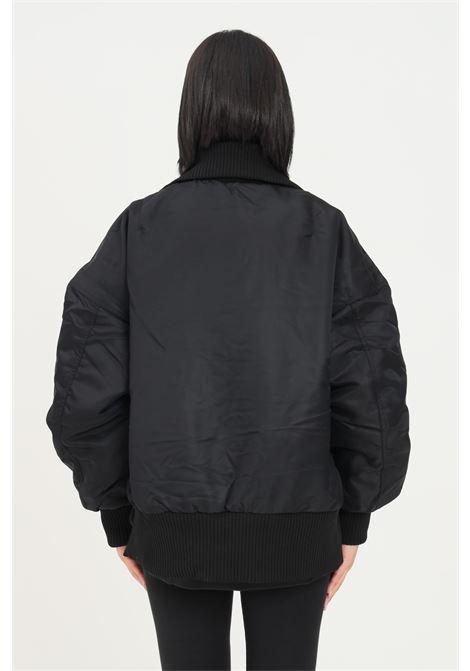 Black women's elongated rib bomber jacket by adidas zip closure on the front ADIDAS | Jacket | GU1768.