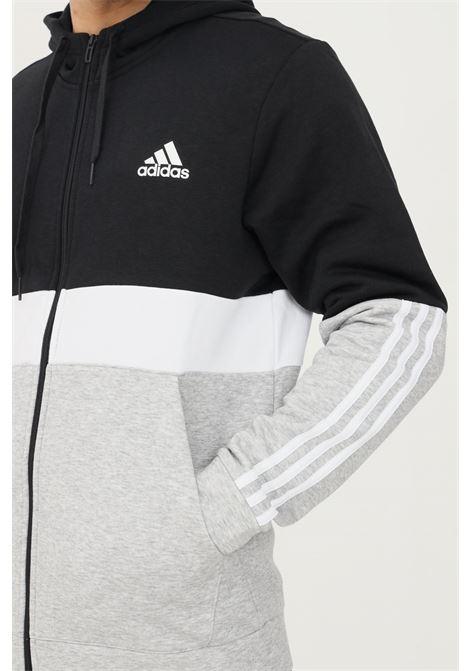 Felpa uomo nero grigio adidas con zip ADIDAS   Felpe   GV5244.
