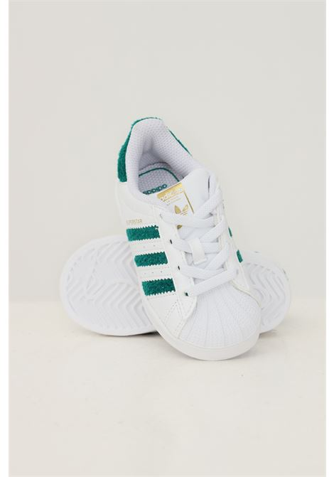 White newborn superstar el i sneakers with contrasting inserts ADIDAS | Sneakers | H03989.