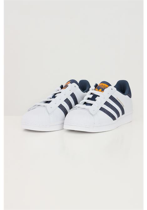 White unisex superstar j sneakers by adidas with denim inserts ADIDAS | Sneakers | H04025J.