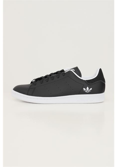 Black men's stan smith sneakers by adidas with embroidered logo in contrast ADIDAS | Sneakers | H05341.