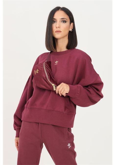 Bordeaux women's adicolor essentials fleece sweatshirt by adidas crew neck model ADIDAS | Sweatshirt | H06662.