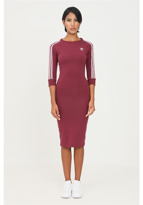 Bordeaux women's adicolor classics dress by adidas midi cut with 3-4 sleeves ADIDAS | Dress | H06777.