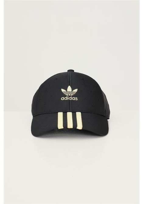 Black unisex baseball cap by adidas with gold bands ADIDAS | Hat | H09043.