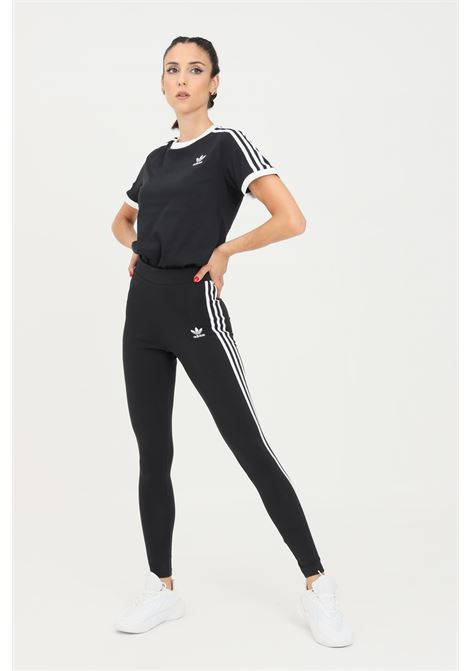 Black tight adicolor classics 3-stripes leggings by adidas with side bands in contrast ADIDAS   Leggings   H09426.