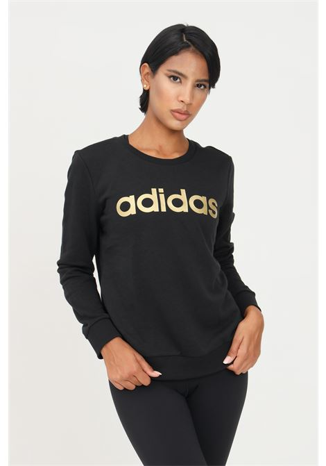 Felpa essentials logo donna nero adidas modello girocollo con stampa logo ADIDAS | Felpe | H10146.