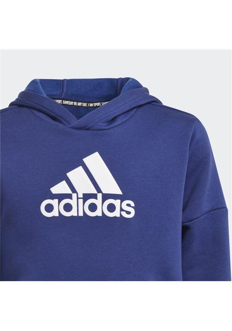 Felpa bambino blu adidas con cappuccio e stampa logo a contrasto ADIDAS   Felpe   H10253.
