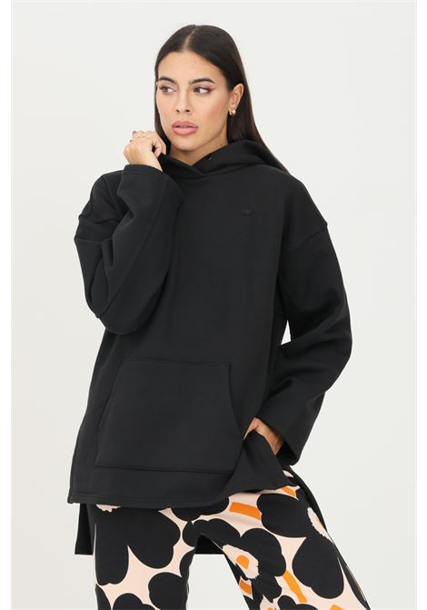 Maxi felpa hoodie adicolor fleece donna nero adidas ADIDAS | Felpe | H11400.
