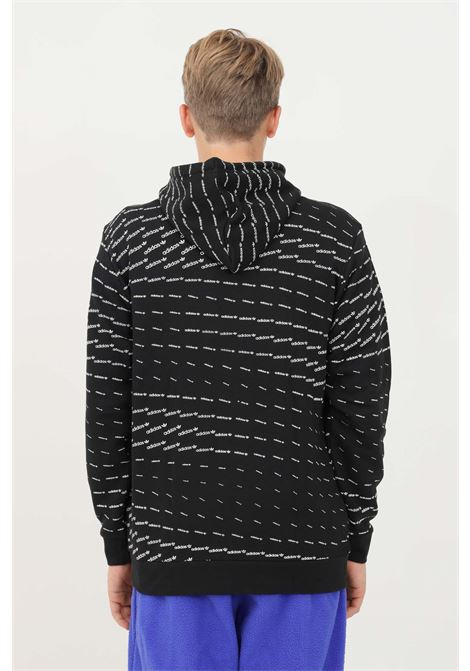 Felpa uomo nero adidas con cappuccio e stampa pattern allover ADIDAS | Felpe | H13492.