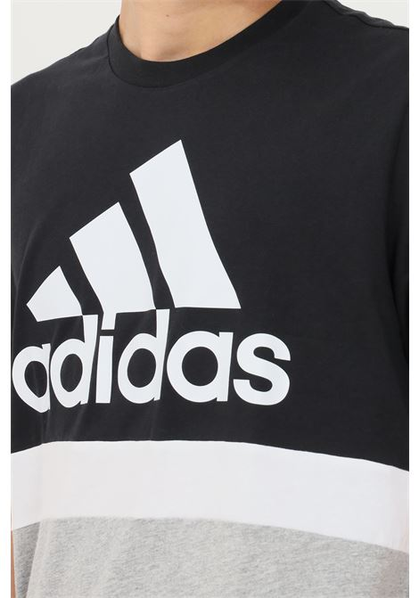 Black men's essentials colorblock t-shirt by adidas short sleeve ADIDAS | T-shirt | H14627.