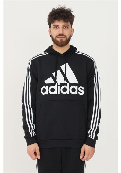 Felpa essentials uomo nero adidas con cappuccio ADIDAS | Felpe | H14641.