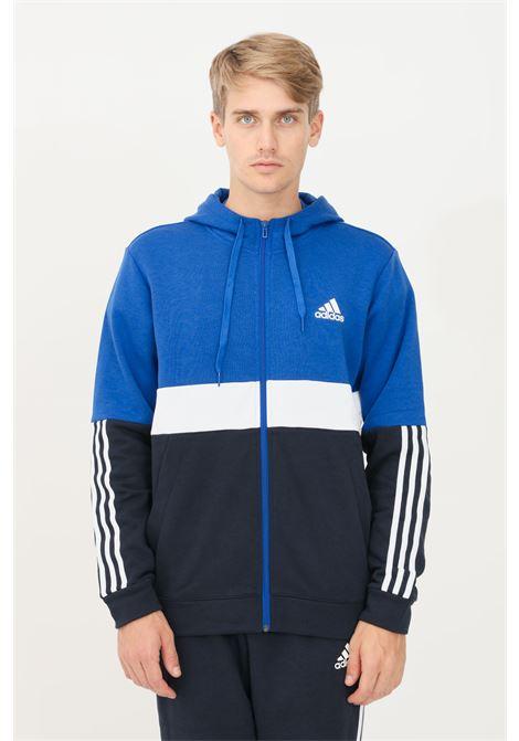 Felpa uomo blu adidas con cappuccio e zip ADIDAS | Felpe | H14645.