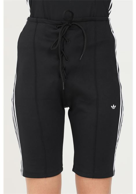 Black women's shorts by adidas with lacing on the front ADIDAS | Shorts | H15812.