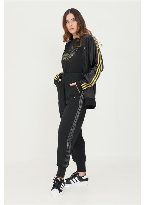 Pantaloni cuffed pants with velvet stripes and trefoil rivet donna nero adidas ADIDAS   Pantaloni   H18036.