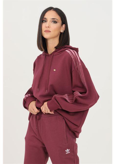 Bordeaux women's cozy oversize hoodie by adidas with velvet stripes and trefoil rivet ADIDAS | Sweatshirt | H18041.