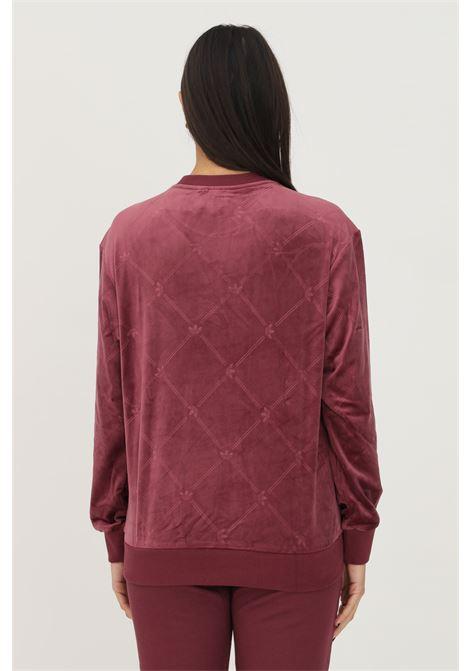 Felpa velvet with embossed adidas originals monogram donna bordeaux ADIDAS | Felpe | H18043.