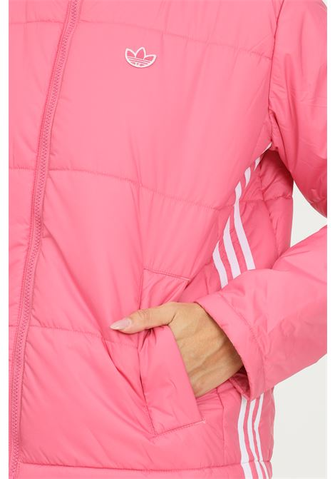 Pink women's short puffer jacket by adidas with zip on the front ADIDAS   Jacket   H20213.