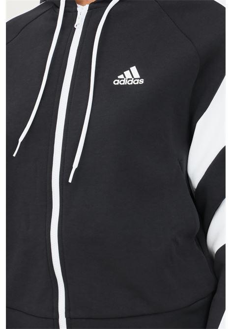 Felpa adidas sportswear colorblock full zip nero con cappuccio ADIDAS | Felpe | H20221.