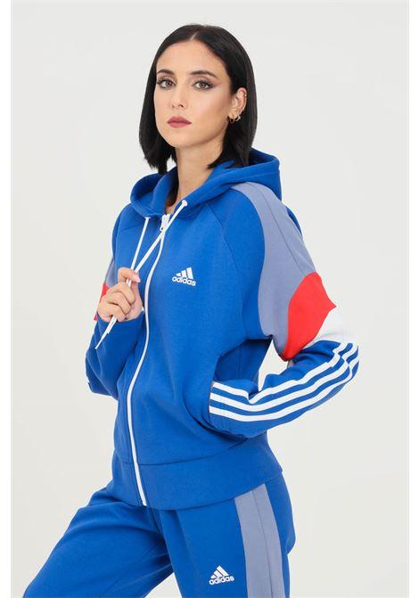 Blue women's hoodie by adidas with zip ADIDAS | Sweatshirt | H20222.