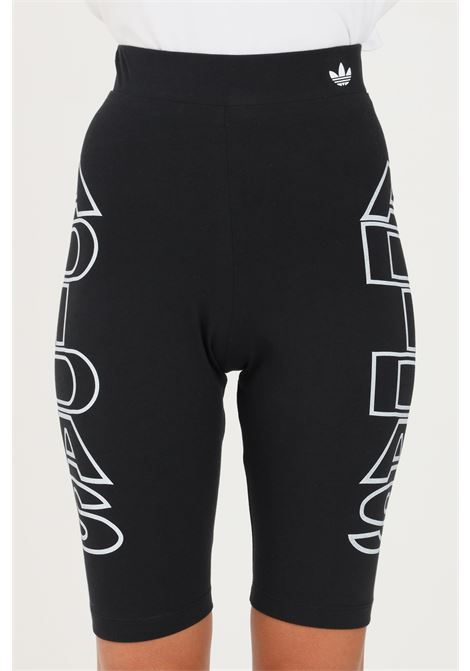 Black women's tight corti mid-waist letter shorts by adidas ADIDAS | Shorts | H20248.