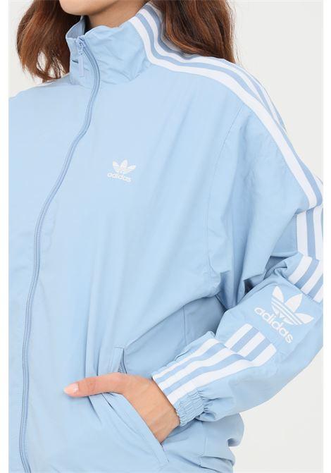 Light blue women's wind jacket with zip by adidas  ADIDAS | Sweatshirt | H20541.