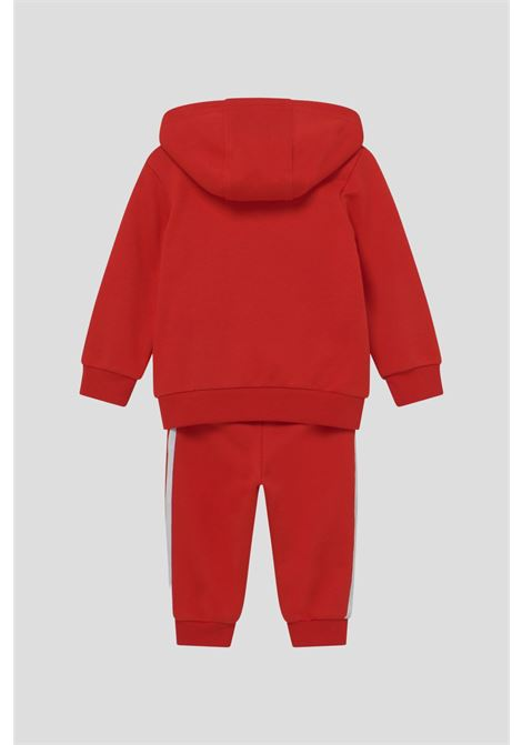 Red newborn suit by adidas with hood and logo on the front ADIDAS | Suit | H25219.