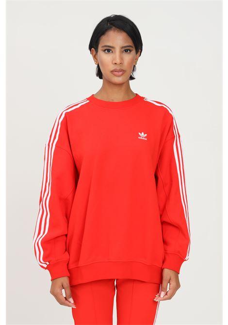 Felpa adicolor classics oversized donna rosso adidas modello girocollo ADIDAS | Felpe | H33540.