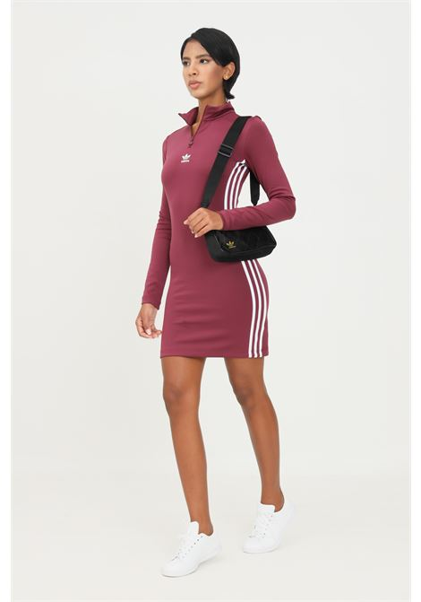 Bordeaux adicolor classics long sleeve dress by adidas ADIDAS | Dress | H35617.