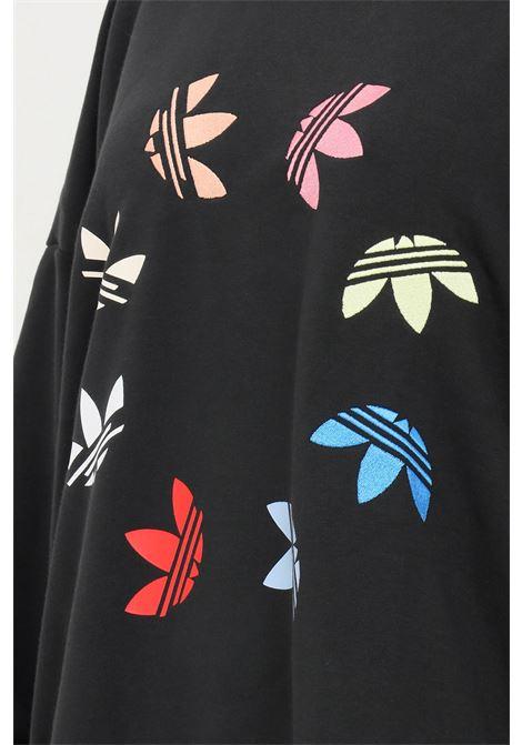Black women's adicolor shattered trefoil wheel sweatshirt by adidas crew neck model ADIDAS | Sweatshirt | H36845.