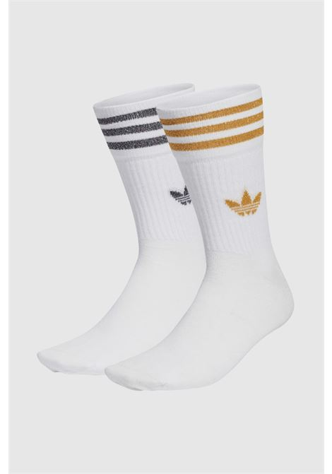 White women's socks with glitter bands and logo. Pack of two pairs ADIDAS | Socks | H37063.