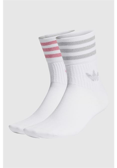 White women's socks with glitter bands and logo. Pack of two pairs ADIDAS | Socks | H37064.