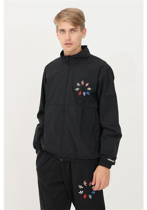 Black men's track top adicolor shattered trefoil sweatshirt by adidas with zip ADIDAS | Sweatshirt | H37735.