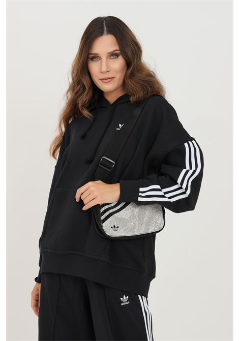 Felpa donna nero adidas con cappuccio e bande laterali ADIDAS   Felpe   H37799.