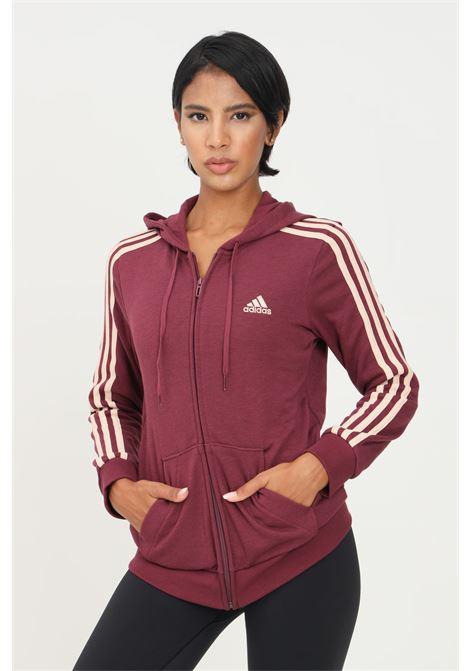 Felpa donna bordeaux adidas con zip e cappuccio ADIDAS | Felpe | H59088.