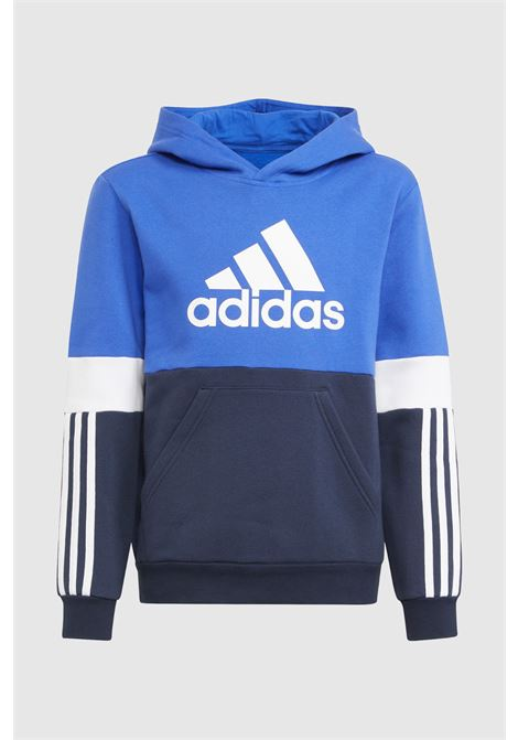 Felpa colorblock fleece bambino blu adidas con cappuccio ADIDAS   Felpe   HA6318.