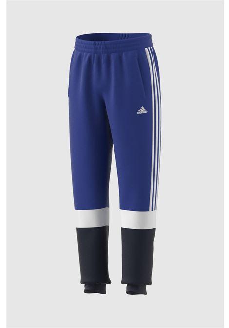 Pantaloni bambino blu adidas con bande a contrasto ADIDAS   Pantaloni   HA6319.