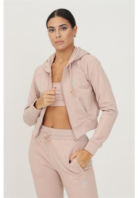 Track top adidas 2000 luxe cropped donna beige con zip e cappuccio ADIDAS | Felpe | HF6766.
