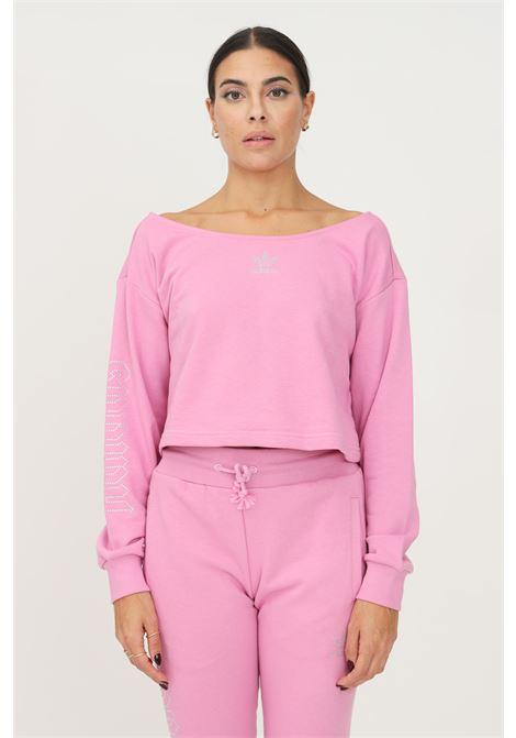 Felpa adidas originals 2000 luxe slouchy donna rosa con scollo a barca ADIDAS | Felpe | HF6775.