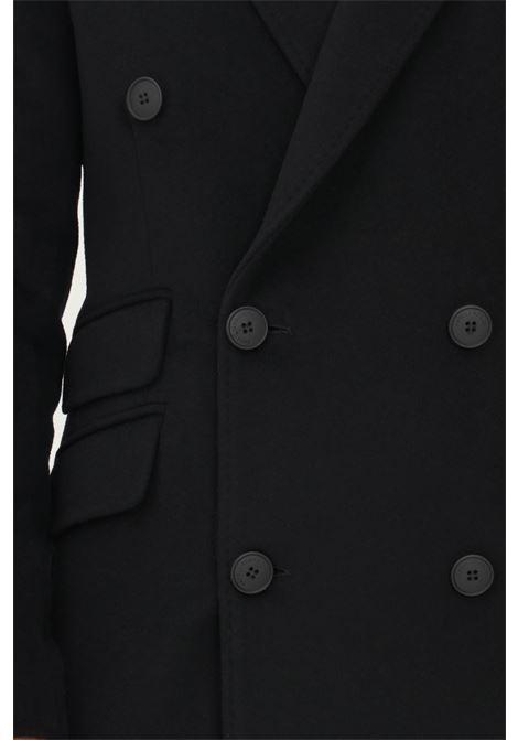 Cappotto doppiopetto uomo nero alessandro dell'acqua taglio lungo ALESSANDRO DELL'ACQUA | Cappotti | AD1708/T302480