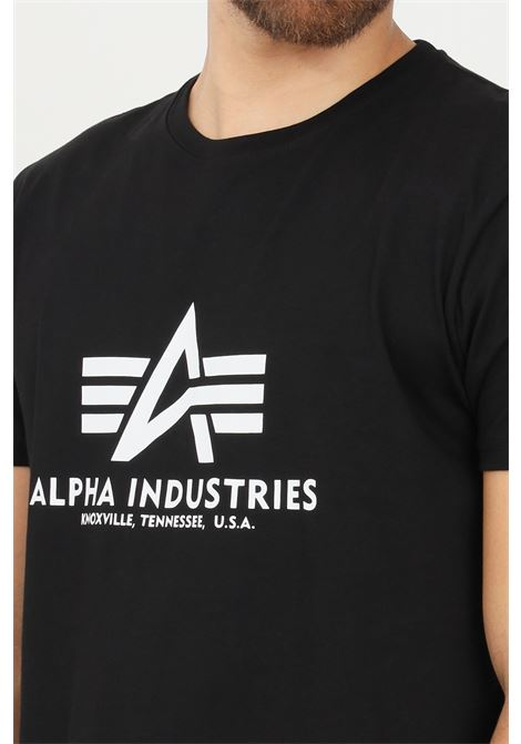 Black men's t-shirt by alpha industries with contrasting print short sleeve ALPHA INDUSTRIES | T-shirt | 10050103