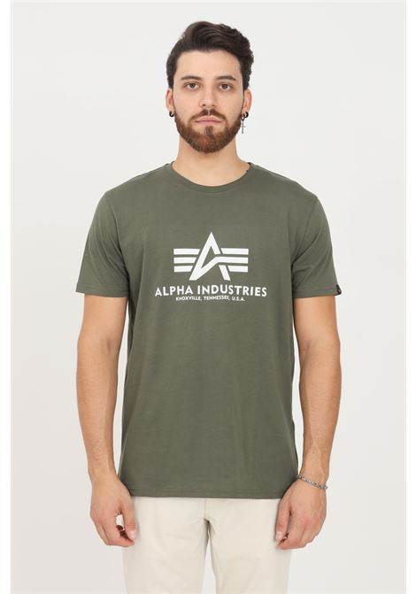 Green men's t-shirt by alpha industries with contrasting print short sleeve ALPHA INDUSTRIES | T-shirt | 100501142