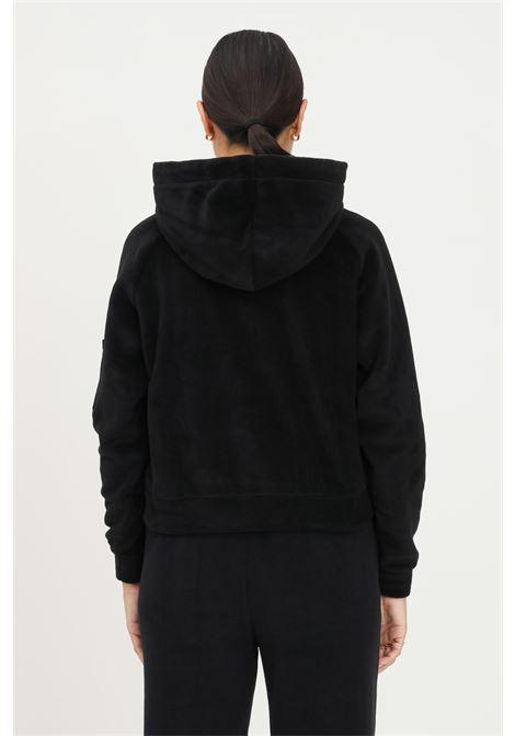 Felpa con cappuccio polar fleece donna nero con ricamo logo alpha industries ALPHA INDUSTRIES | Felpe | 12805503