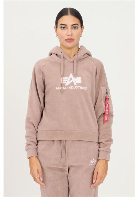 Felpa con cappuccio polar fleece donna terra con ricamo logo alpha industries ALPHA INDUSTRIES | Felpe | 128055416