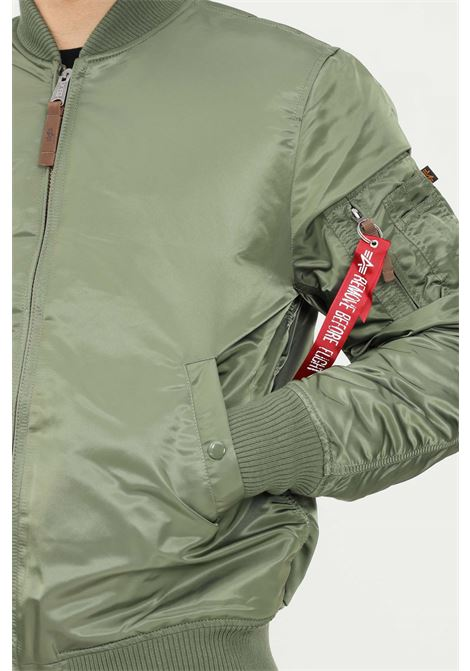 Green men's bomber jacket by alpha industries with front zip ALPHA INDUSTRIES | Jacket | 16810001