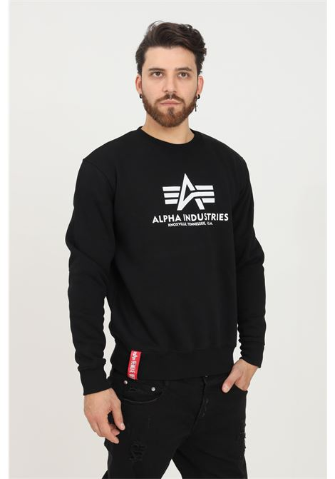 Black men's sweatshirt by alpha industries, crew neck model with contrasting logo print on the front ALPHA INDUSTRIES | Sweatshirt | 17830203