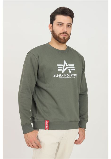 Green men's sweatshirt by alpha industries, crew neck model with contrasting logo print on the front ALPHA INDUSTRIES | Sweatshirt | 178302142
