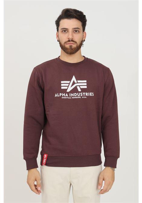 Bordeaux men's sweatshirt by alpha industries, crew neck model with contrasting logo print on the front ALPHA INDUSTRIES | Sweatshirt | 17830221