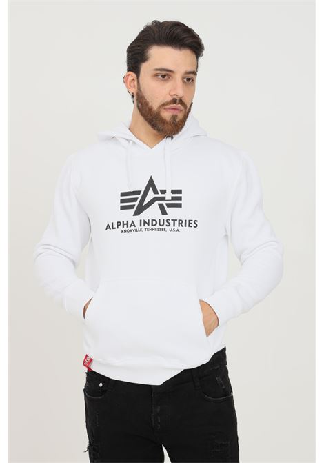 White men's hoodie by alpha industries with contrasting logo print on the front ALPHA INDUSTRIES | Sweatshirt | 17831209