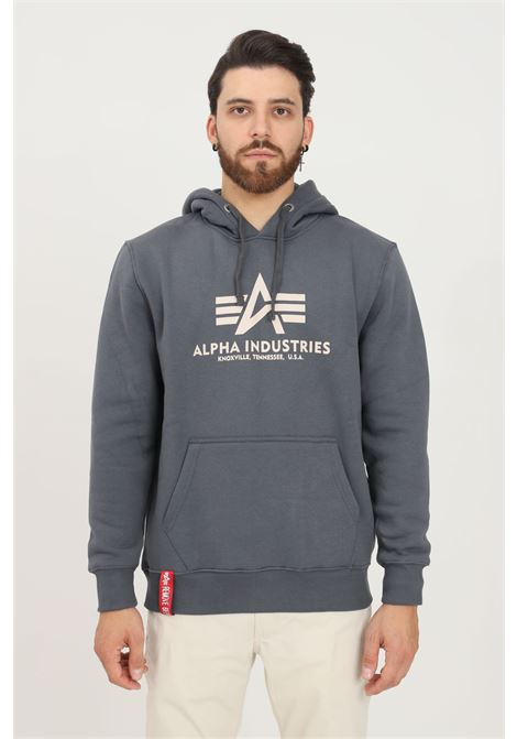 Grey men's hoodie by alpha industries with contrasting logo print on the front ALPHA INDUSTRIES | Sweatshirt | 178312136
