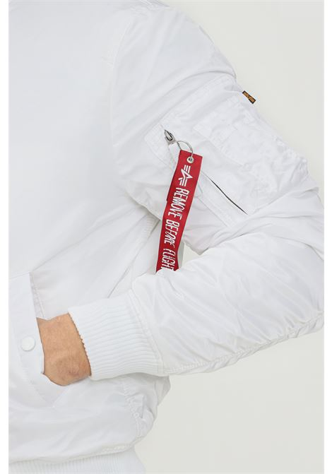 White men's bomber jacket by alpha industries with front zip ALPHA INDUSTRIES | Jacket | 19111809